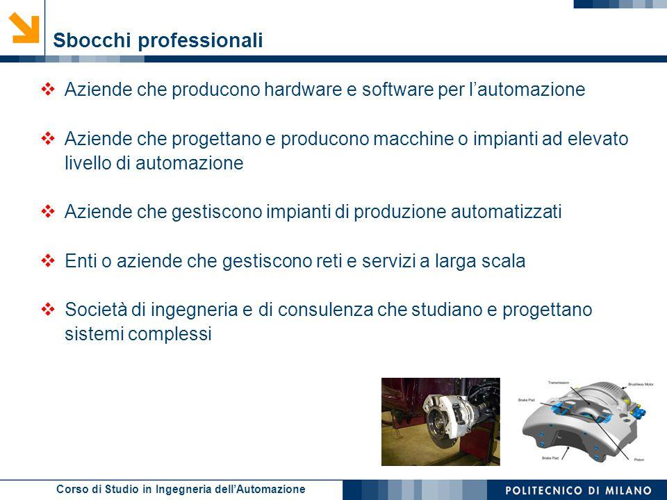 Corso di Studio in Ingegneria dell'Automazione Sbocchi professionali  Aziende che producono hardware e software per l'automazione  Aziende che proge