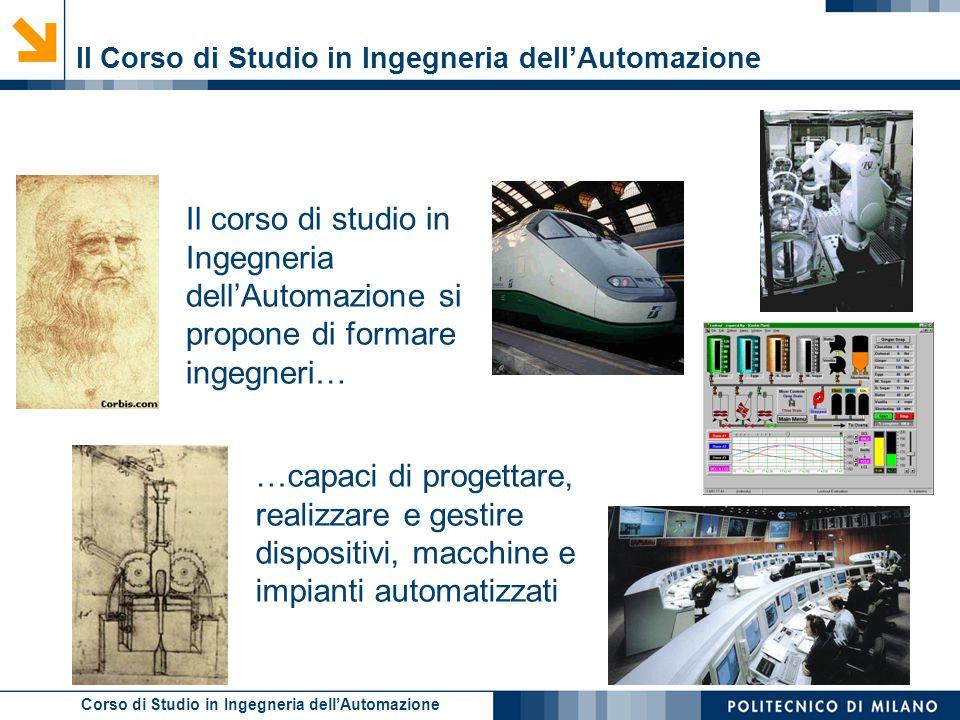 Corso di Studio in Ingegneria dell'Automazione Il Corso di Studio in Ingegneria dell'Automazione Il corso di studio in Ingegneria dell'Automazione si