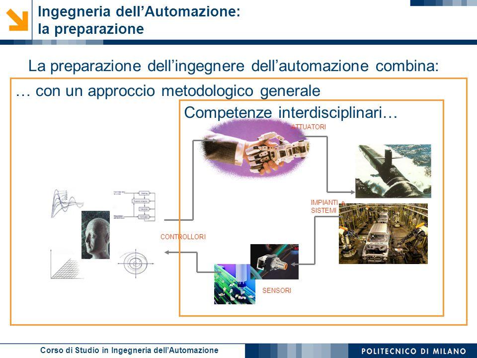 Corso di Studio in Ingegneria dell'Automazione … con un approccio metodologico generale Ingegneria dell'Automazione: la preparazione La preparazione d