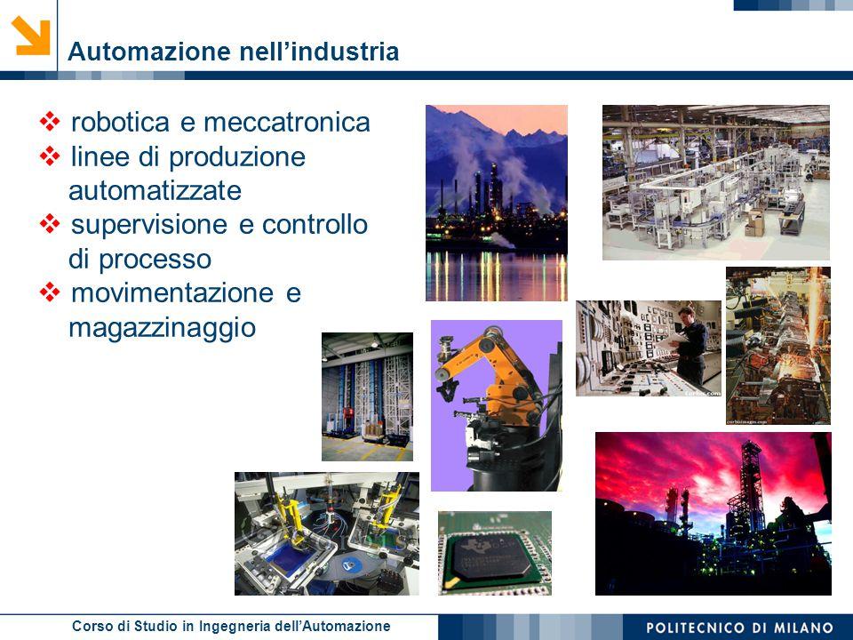 Corso di Studio in Ingegneria dell'Automazione  robotica e meccatronica  linee di produzione automatizzate  supervisione e controllo di processo 