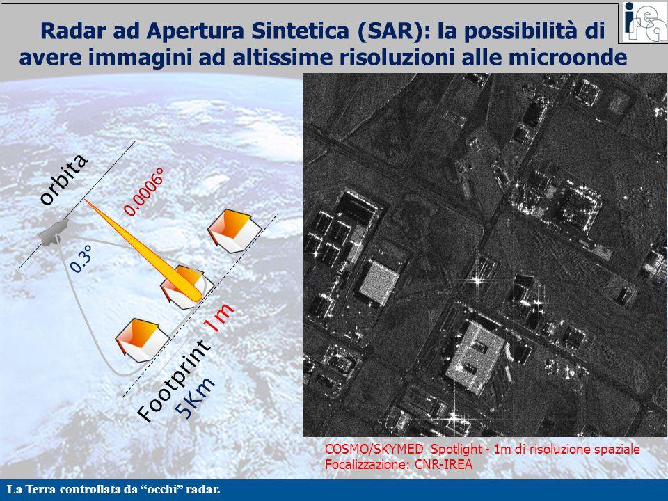 """La Terra controllata da """"occhi"""" radar. Radar ad Apertura Sintetica (SAR): la possibilità di avere immagini ad altissime risoluzioni alle microonde orb"""