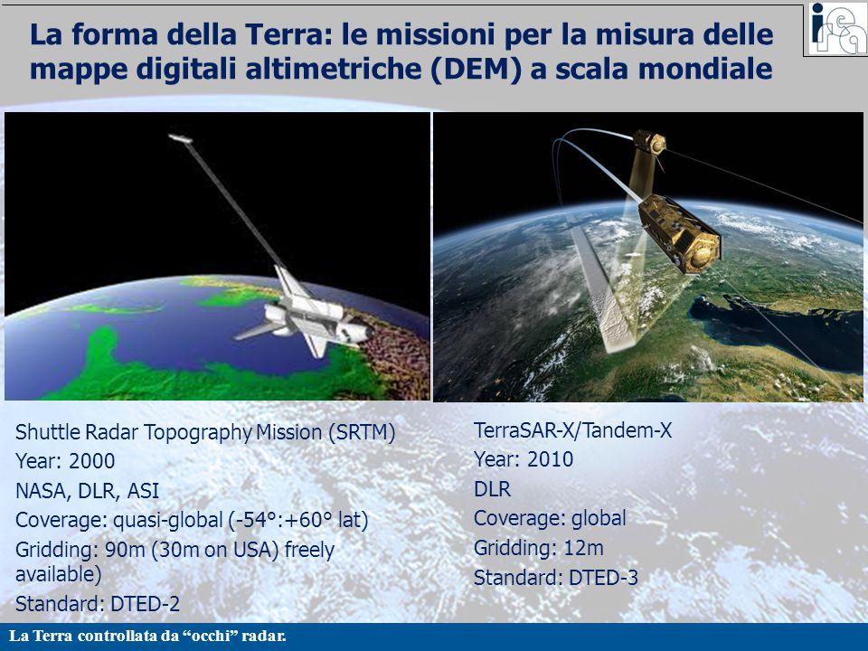 """La Terra controllata da """"occhi"""" radar. La forma della Terra: le missioni per la misura delle mappe digitali altimetriche (DEM) a scala mondiale Shuttl"""