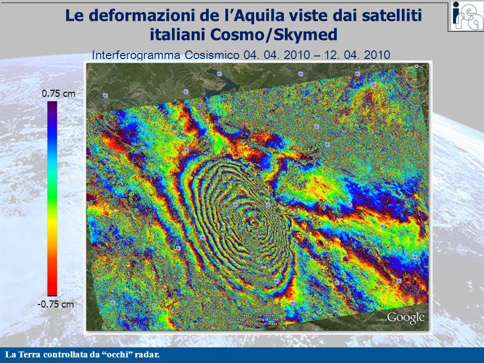 """La Terra controllata da """"occhi"""" radar. Interferogramma Cosismico 04. 04. 2010 – 12. 04. 2010 0.75 cm -0.75 cm Le deformazioni de l'Aquila viste dai sa"""
