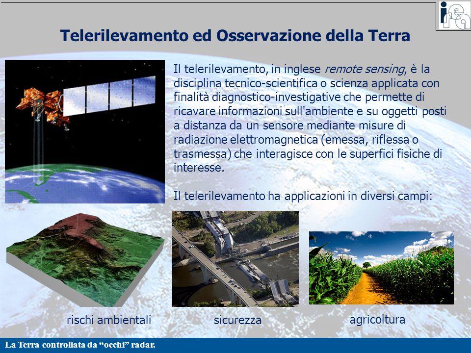 """La Terra controllata da """"occhi"""" radar. Telerilevamento ed Osservazione della Terra Il telerilevamento, in inglese remote sensing, è la disciplina tecn"""