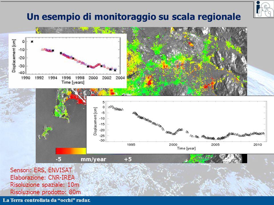 """La Terra controllata da """"occhi"""" radar. Un esempio di monitoraggio su scala regionale Sensori: ERS, ENVISAT Elaborazione: CNR-IREA Risoluzione spaziale"""