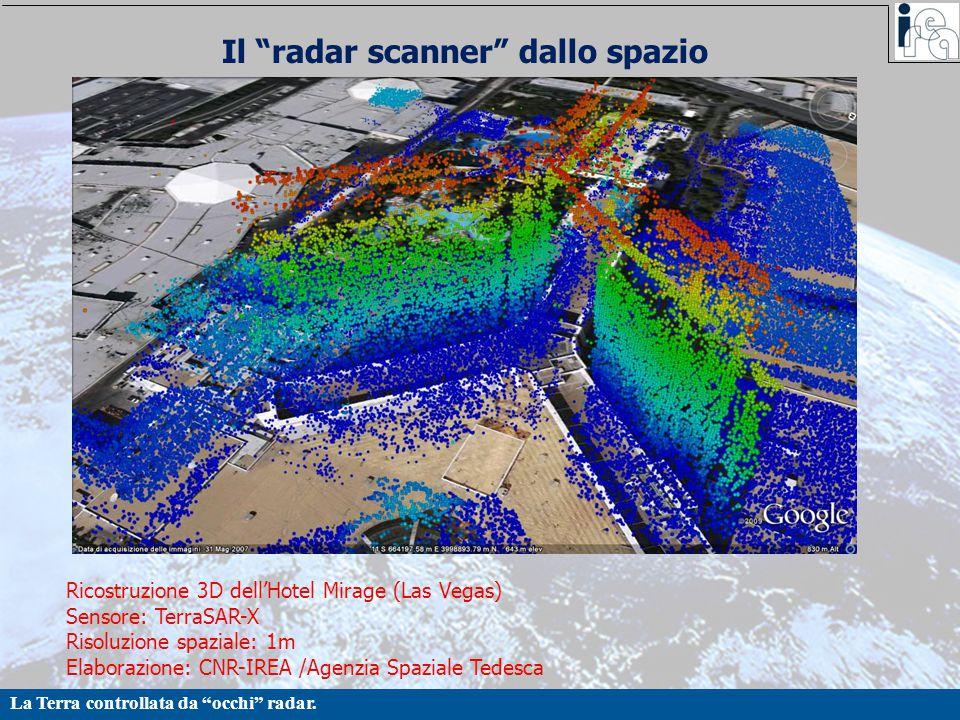 """La Terra controllata da """"occhi"""" radar. Il """"radar scanner"""" dallo spazio Ricostruzione 3D dell'Hotel Mirage (Las Vegas) Sensore: TerraSAR-X Risoluzione"""
