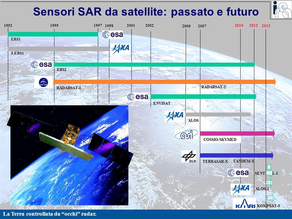 "La Terra controllata da ""occhi"" radar. Sensori SAR da satellite: passato e futuro ERS1 ERS2 RADARSAT-1 RADARSAT-2 ENVISAT TERRASAR-X COSMO/SKYMED 2010"