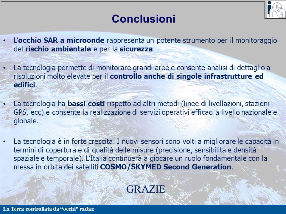 """La Terra controllata da """"occhi"""" radar. Conclusioni L'occhio SAR a microonde rappresenta un potente strumento per il monitoraggio del rischio ambiental"""