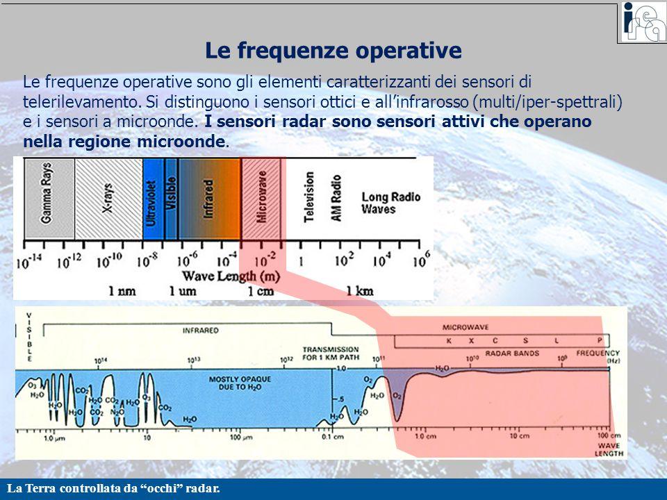 """La Terra controllata da """"occhi"""" radar. Le frequenze operative Le frequenze operative sono gli elementi caratterizzanti dei sensori di telerilevamento."""