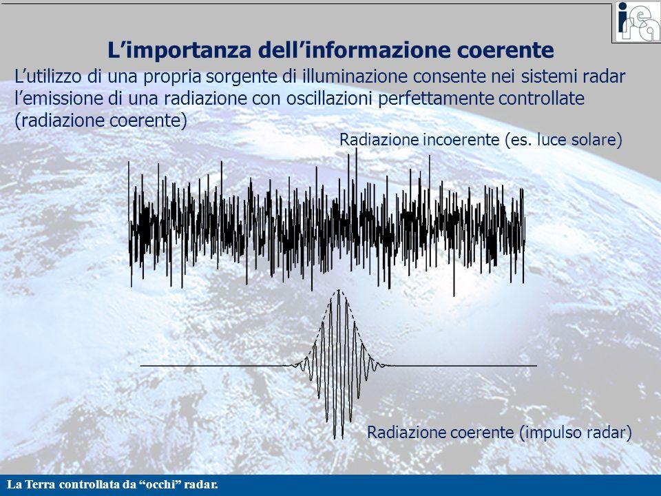 """La Terra controllata da """"occhi"""" radar. L'importanza dell'informazione coerente L'utilizzo di una propria sorgente di illuminazione consente nei sistem"""