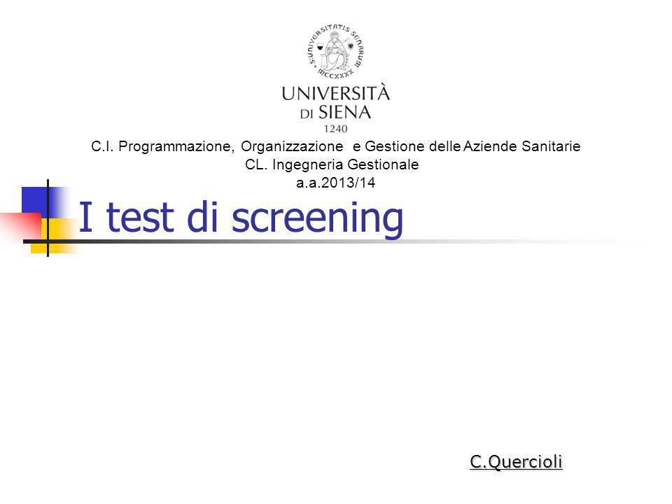 Valori Predittivi di un test diagnostico (i) Valore Predittivo Positivo di un test (VP+): Proporzione di realmente malati (a) tra i positivi al test (a+b).