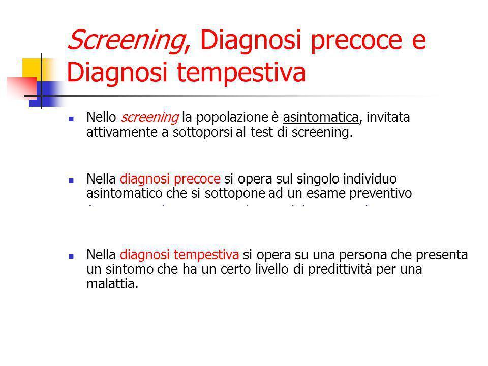 Screening, Diagnosi precoce e Diagnosi tempestiva Nello screening la popolazione è asintomatica, invitata attivamente a sottoporsi al test di screening.