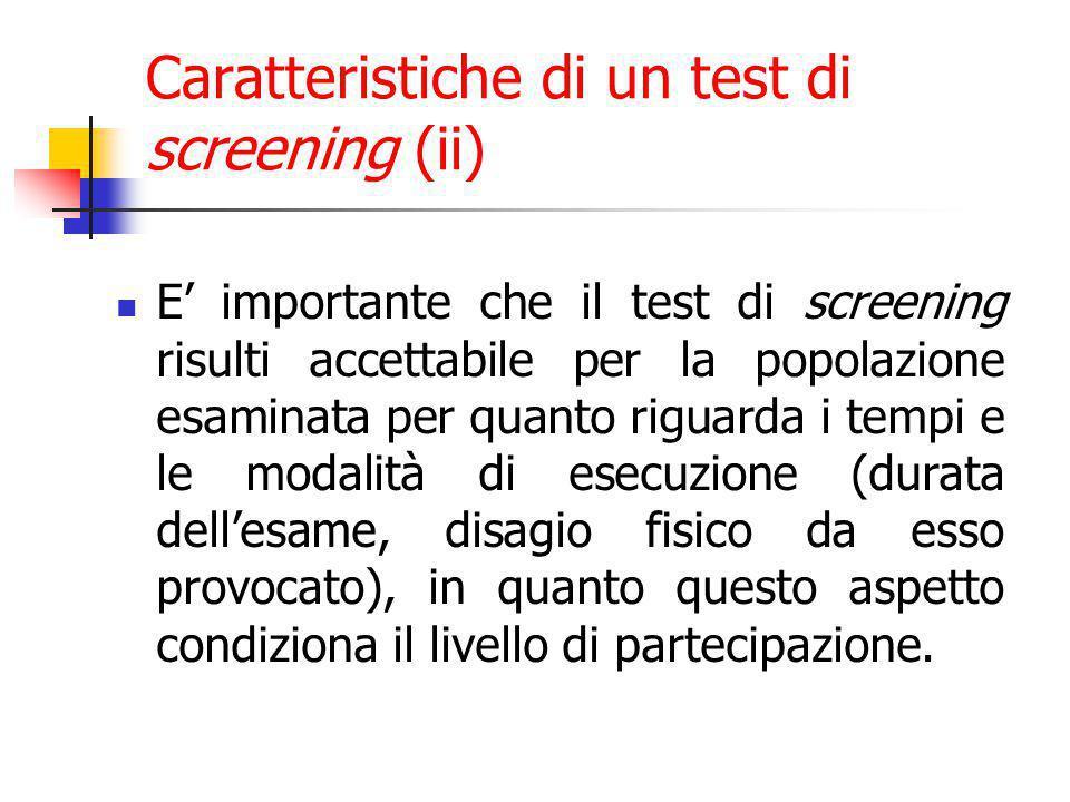 E' importante che il test di screening risulti accettabile per la popolazione esaminata per quanto riguarda i tempi e le modalità di esecuzione (durata dell'esame, disagio fisico da esso provocato), in quanto questo aspetto condiziona il livello di partecipazione.