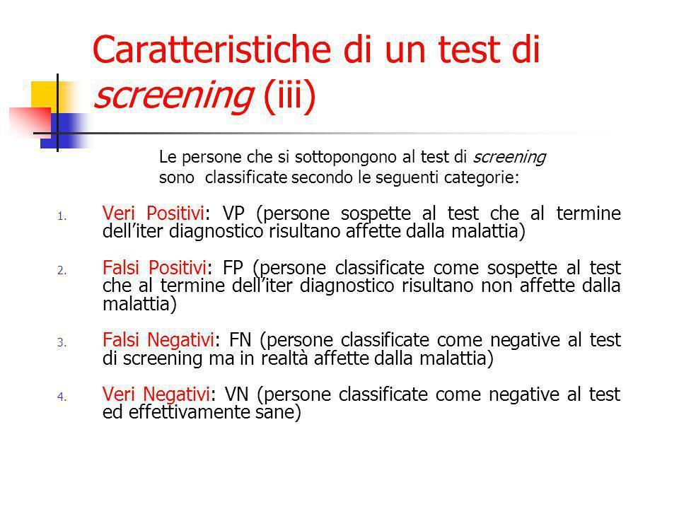 1. Veri Positivi: VP (persone sospette al test che al termine dell'iter diagnostico risultano affette dalla malattia) 2. Falsi Positivi: FP (persone c