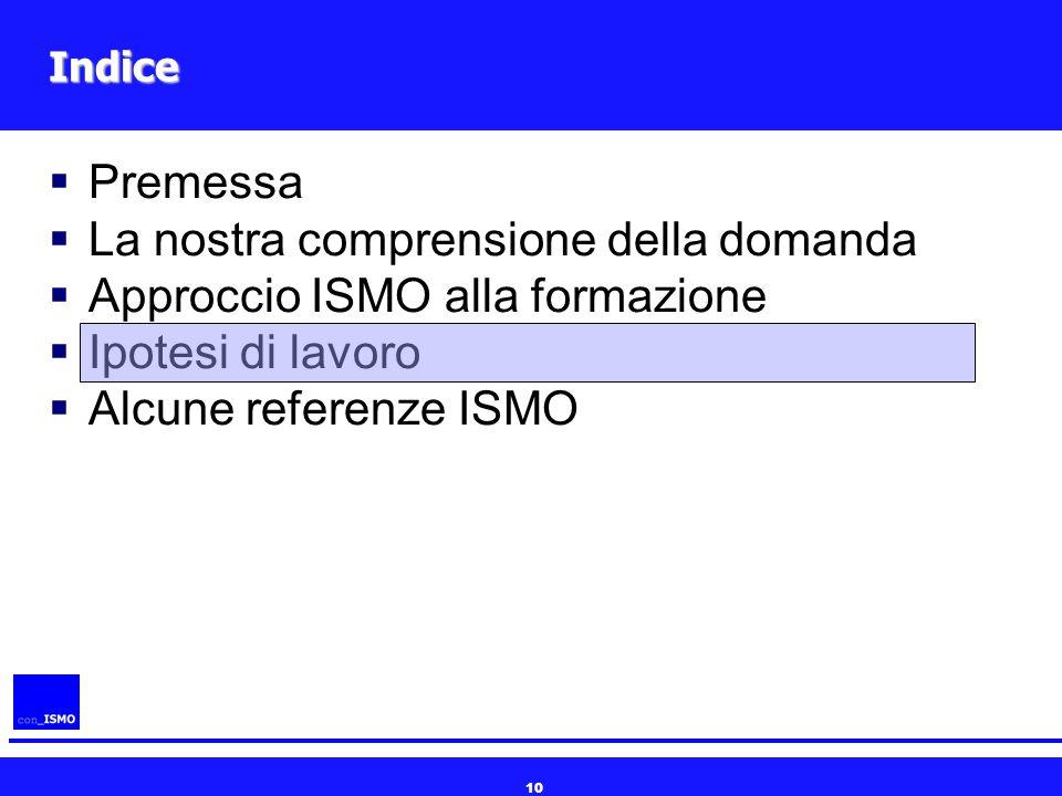 10 Indice  Premessa  La nostra comprensione della domanda  Approccio ISMO alla formazione  Ipotesi di lavoro  Alcune referenze ISMO
