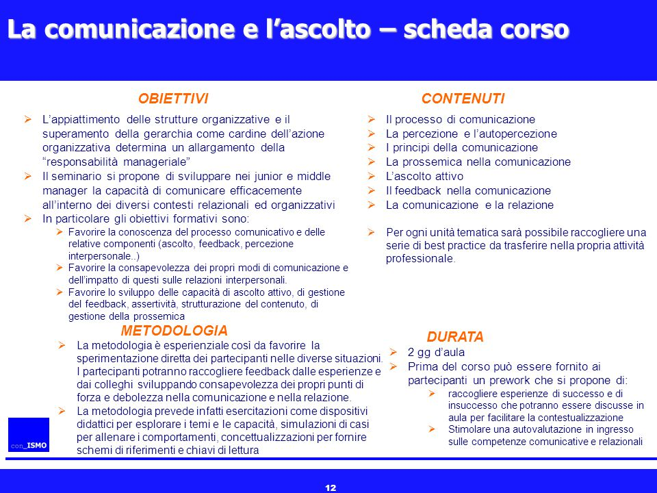 12 La comunicazione e l'ascolto – scheda corso  L'appiattimento delle strutture organizzative e il superamento della gerarchia come cardine dell'azio