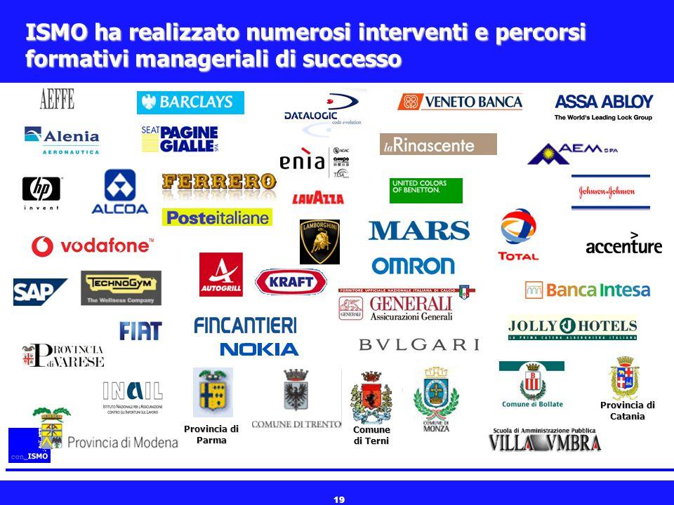 19 ISMO ha realizzato numerosi interventi e percorsi formativi manageriali di successo Comune di Terni Provincia di Parma Provincia di Catania