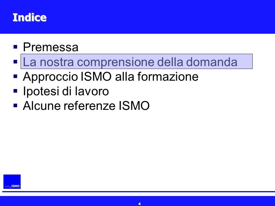 4 Indice  Premessa  La nostra comprensione della domanda  Approccio ISMO alla formazione  Ipotesi di lavoro  Alcune referenze ISMO