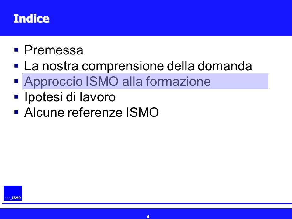 6 Indice  Premessa  La nostra comprensione della domanda  Approccio ISMO alla formazione  Ipotesi di lavoro  Alcune referenze ISMO