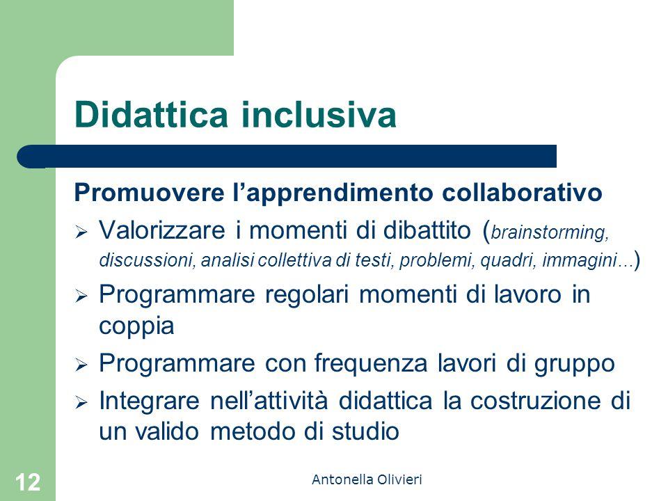 Antonella Olivieri Didattica inclusiva Promuovere l'apprendimento collaborativo  Valorizzare i momenti di dibattito ( brainstorming, discussioni, ana