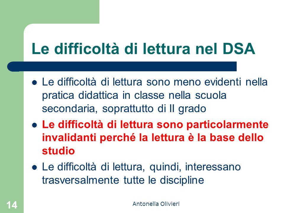 Antonella Olivieri Le difficoltà di lettura nel DSA Le difficoltà di lettura sono meno evidenti nella pratica didattica in classe nella scuola seconda
