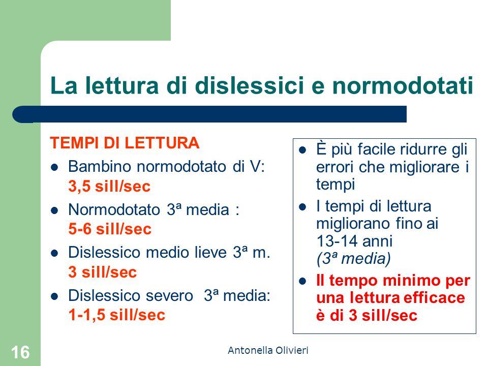 Antonella Olivieri 16 La lettura di dislessici e normodotati È più facile ridurre gli errori che migliorare i tempi I tempi di lettura migliorano fino