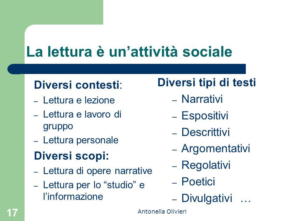 Antonella Olivieri La lettura è un'attività sociale Diversi contesti: – Lettura e lezione – Lettura e lavoro di gruppo – Lettura personale Diversi sco