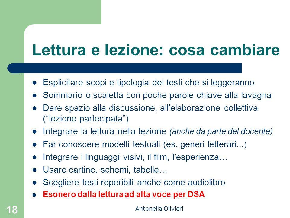 Antonella Olivieri 18 Lettura e lezione: cosa cambiare Esplicitare scopi e tipologia dei testi che si leggeranno Sommario o scaletta con poche parole