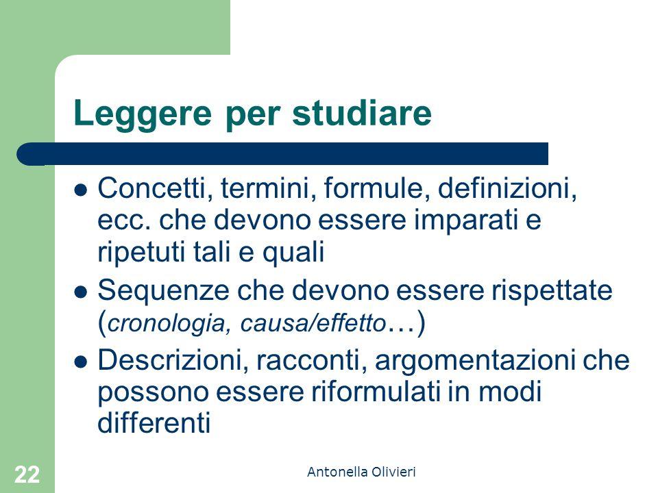 Antonella Olivieri 22 Leggere per studiare Concetti, termini, formule, definizioni, ecc. che devono essere imparati e ripetuti tali e quali Sequenze c