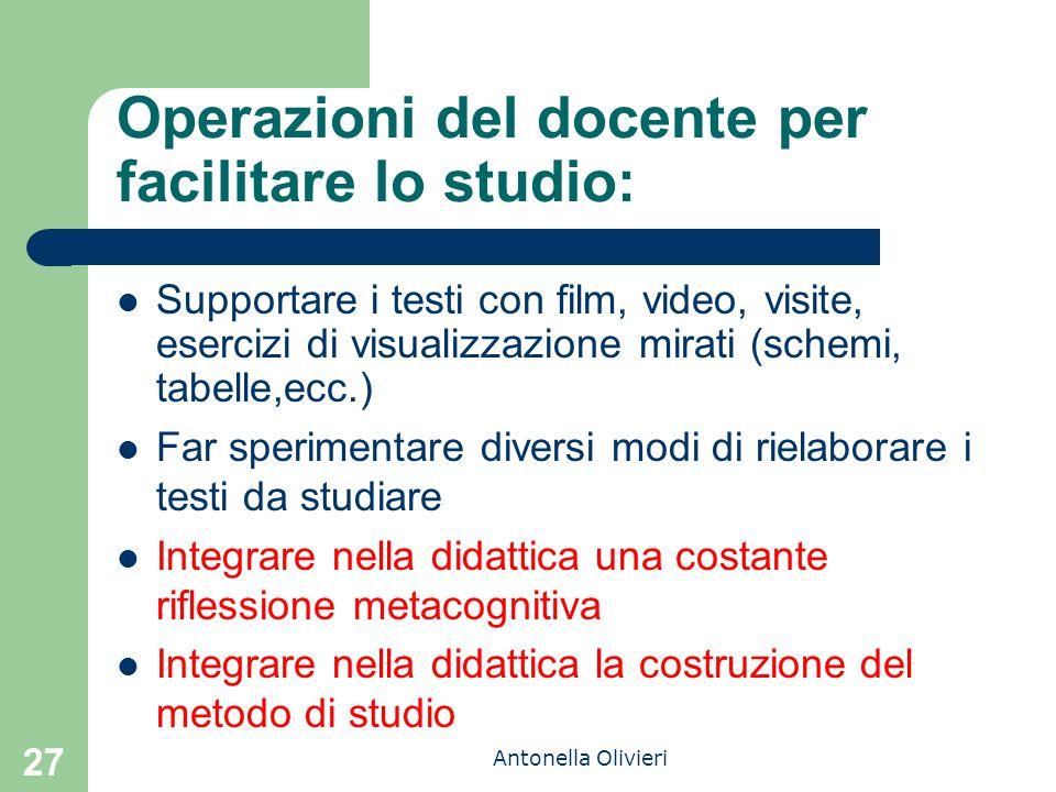 Antonella Olivieri Operazioni del docente per facilitare lo studio: Supportare i testi con film, video, visite, esercizi di visualizzazione mirati (sc