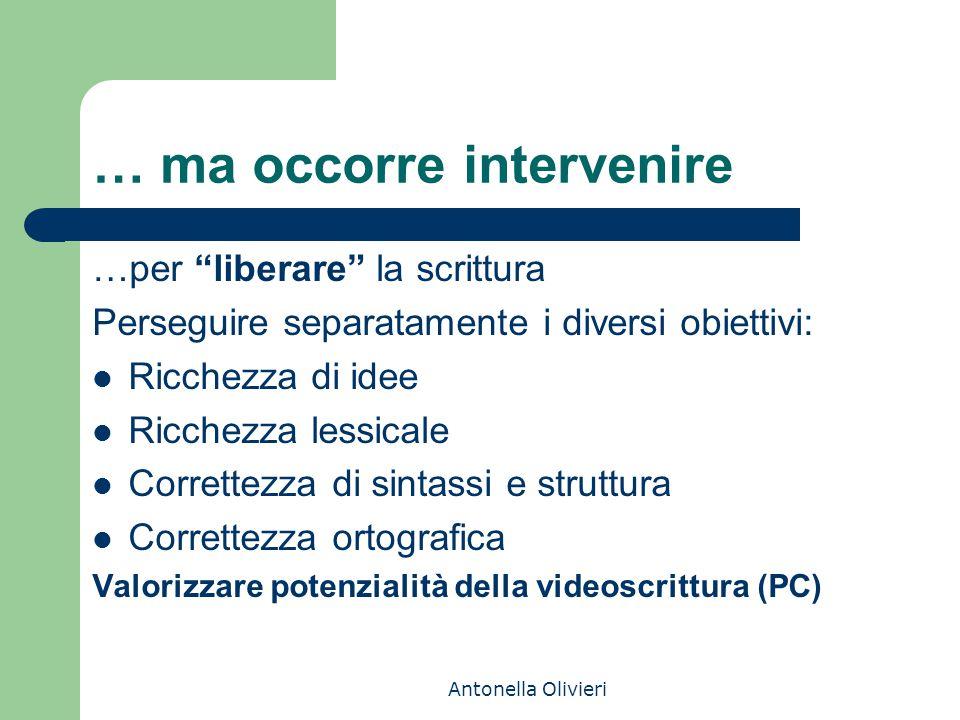 """Antonella Olivieri … ma occorre intervenire …per """"liberare"""" la scrittura Perseguire separatamente i diversi obiettivi: Ricchezza di idee Ricchezza les"""