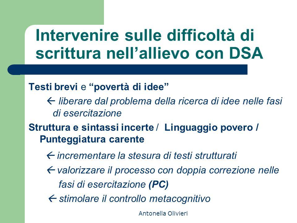 """Antonella Olivieri Intervenire sulle difficoltà di scrittura nell'allievo con DSA Testi brevi e """"povertà di idee""""  liberare dal problema della ricerc"""