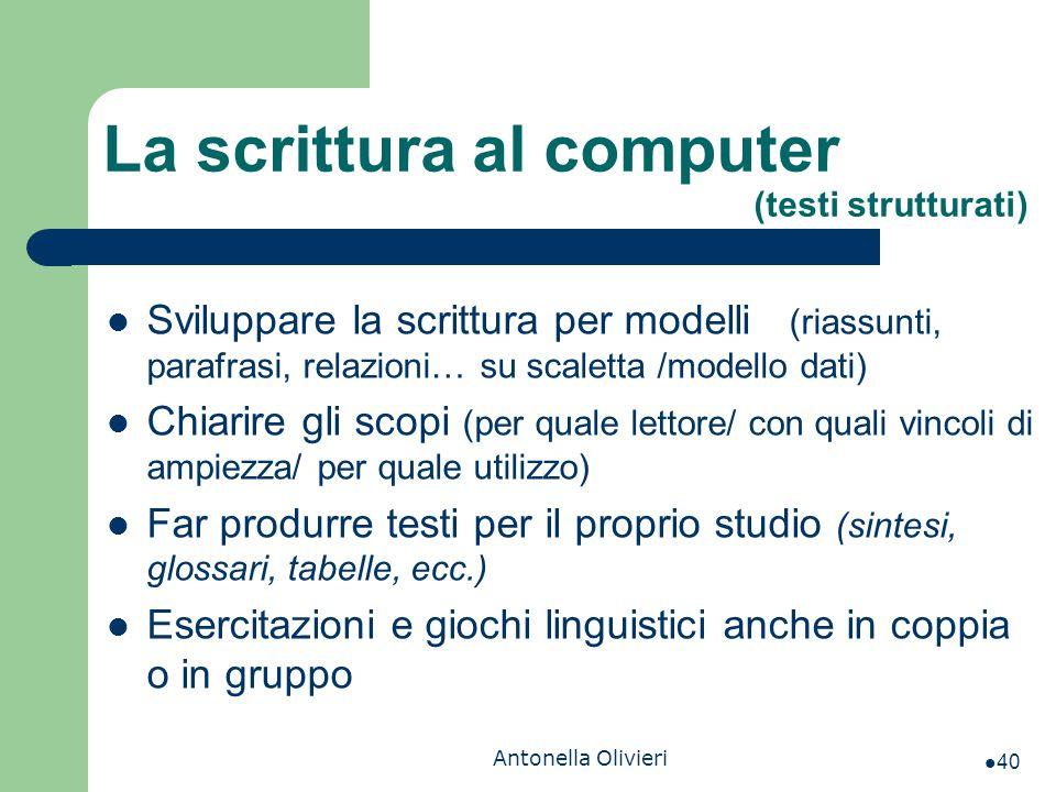 Antonella Olivieri La scrittura al computer (testi strutturati) Sviluppare la scrittura per modelli (riassunti, parafrasi, relazioni… su scaletta /mod