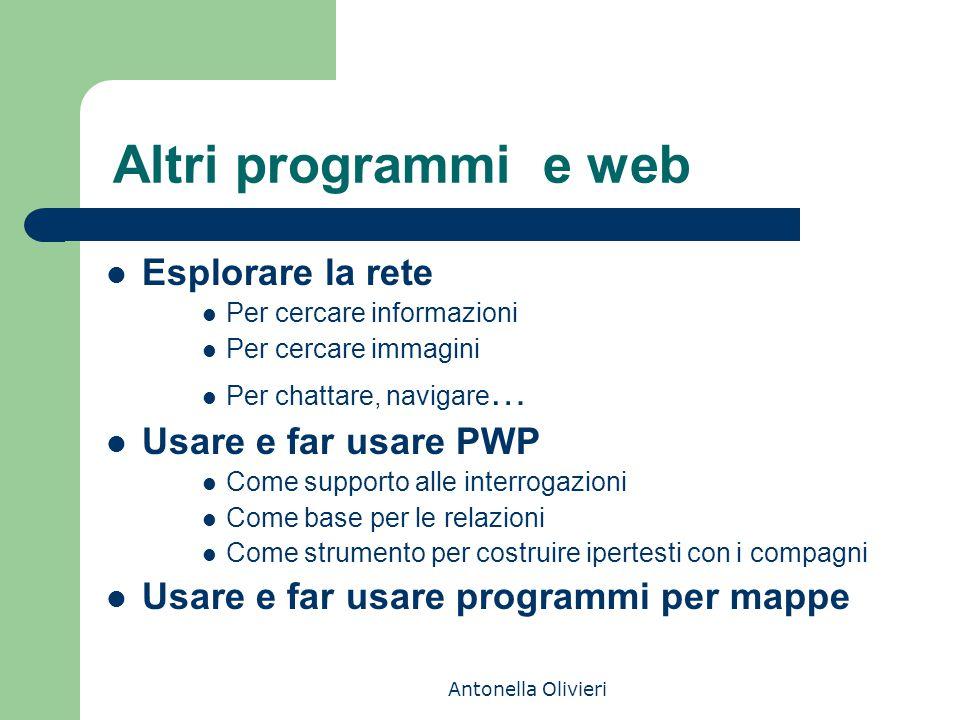 Antonella Olivieri Altri programmi e web Esplorare la rete Per cercare informazioni Per cercare immagini Per chattare, navigare … Usare e far usare PW