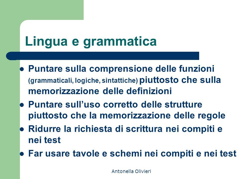 Antonella Olivieri Lingua e grammatica Puntare sulla comprensione delle funzioni (grammaticali, logiche, sintattiche) piuttosto che sulla memorizzazio