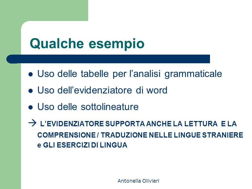 Antonella Olivieri Qualche esempio Uso delle tabelle per l'analisi grammaticale Uso dell'evidenziatore di word Uso delle sottolineature  L'EVIDENZIATORE SUPPORTA ANCHE LA LETTURA E LA COMPRENSIONE / TRADUZIONE NELLE LINGUE STRANIERE e GLI ESERCIZI DI LINGUA