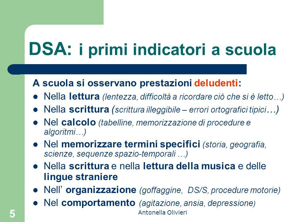 Antonella Olivieri 5 DSA: i primi indicatori a scuola A scuola si osservano prestazioni deludenti: Nella lettura (lentezza, difficoltà a ricordare ciò