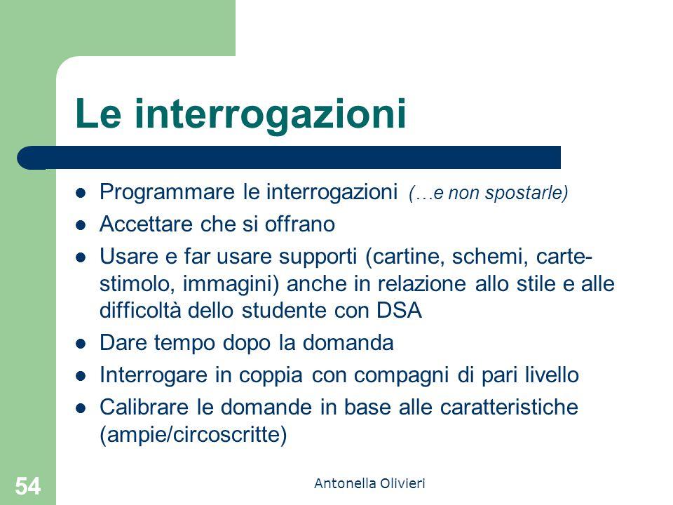 Antonella Olivieri 54 Le interrogazioni Programmare le interrogazioni (…e non spostarle) Accettare che si offrano Usare e far usare supporti (cartine,