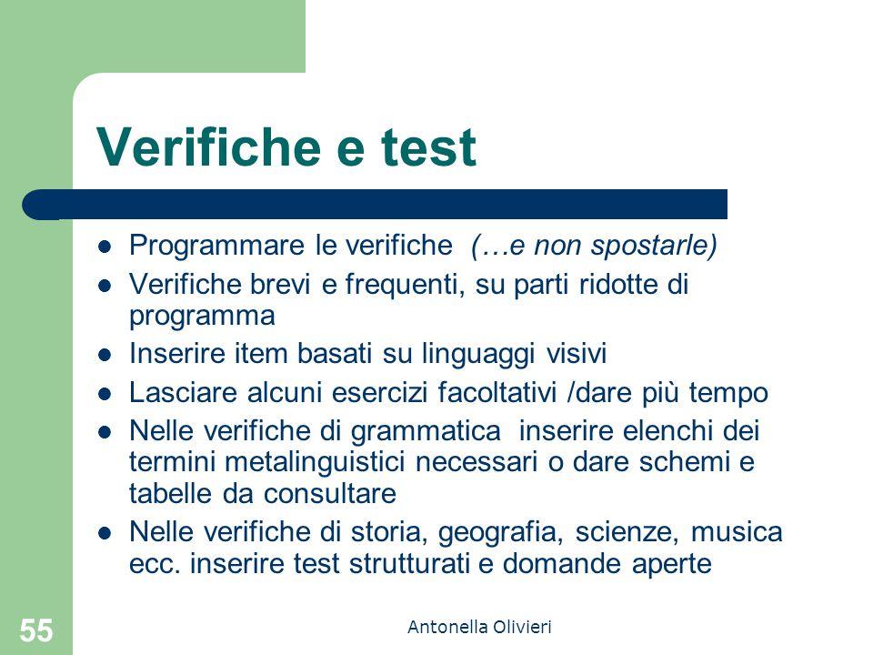 Antonella Olivieri 55 Verifiche e test Programmare le verifiche (…e non spostarle) Verifiche brevi e frequenti, su parti ridotte di programma Inserire