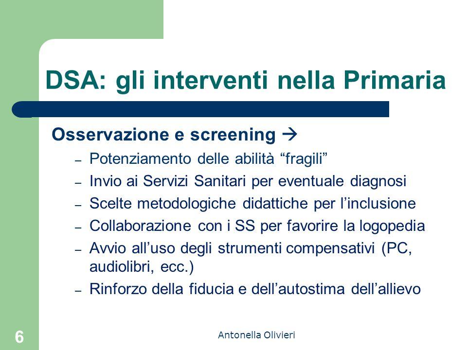 """Antonella Olivieri 6 DSA: gli interventi nella Primaria Osservazione e screening  – Potenziamento delle abilità """"fragili"""" – Invio ai Servizi Sanitari"""