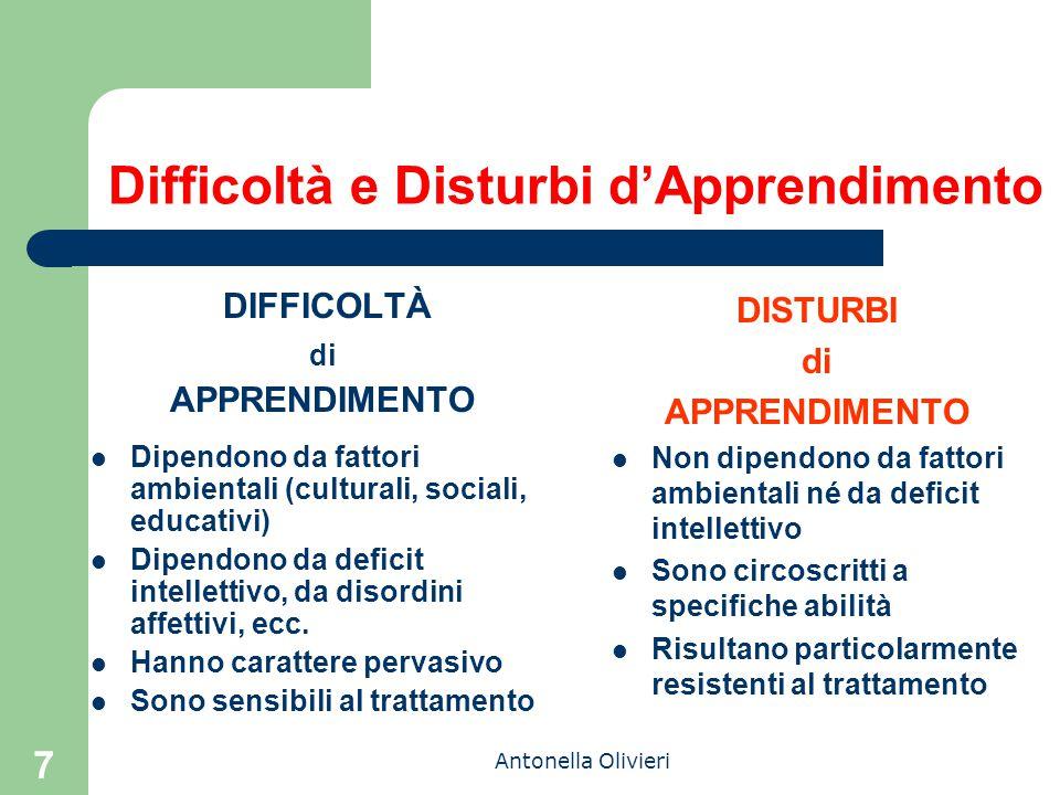 Antonella Olivieri 7 Difficoltà e Disturbi d'Apprendimento DIFFICOLTÀ di APPRENDIMENTO Dipendono da fattori ambientali (culturali, sociali, educativi) Dipendono da deficit intellettivo, da disordini affettivi, ecc.