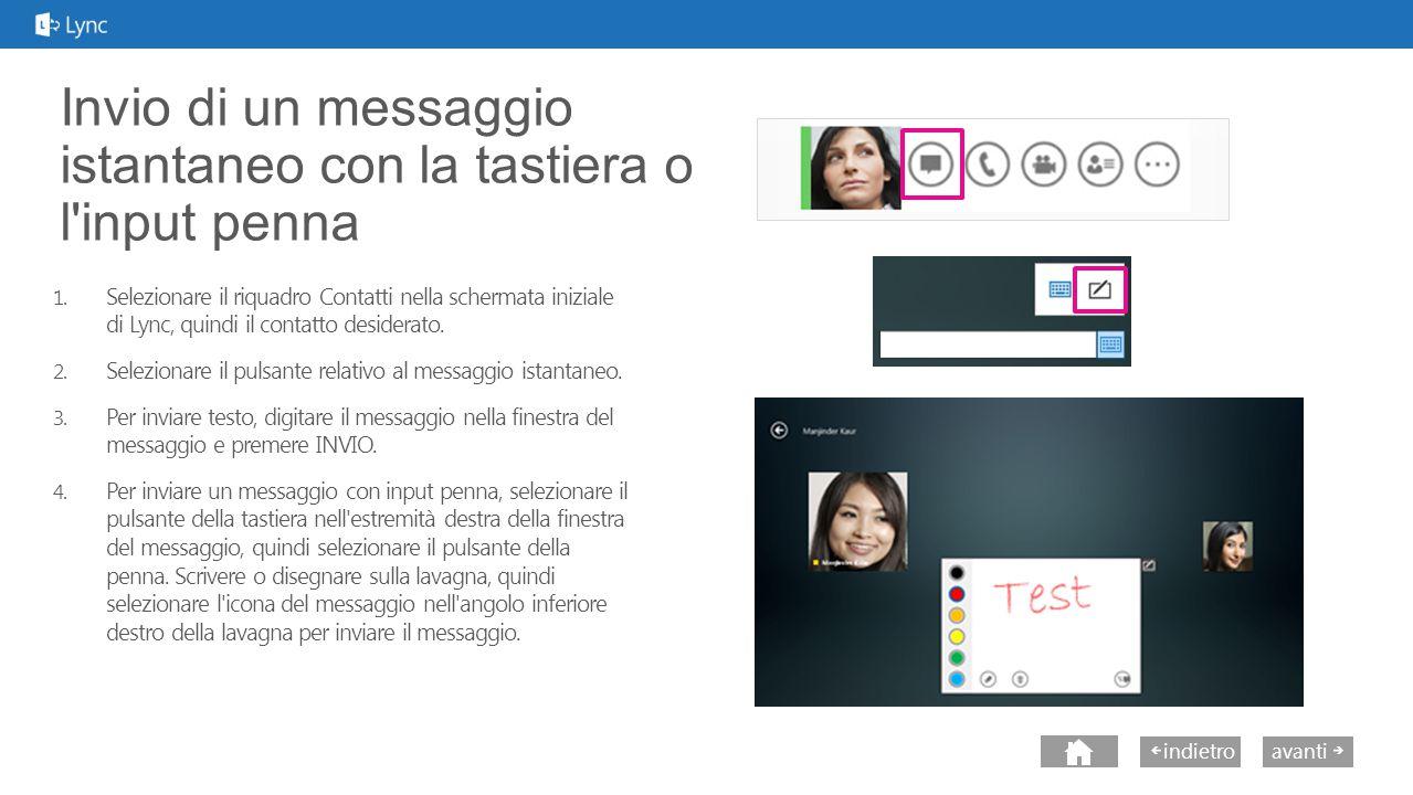 avantiindietro Invio di un messaggio istantaneo con la tastiera o l input penna 1.