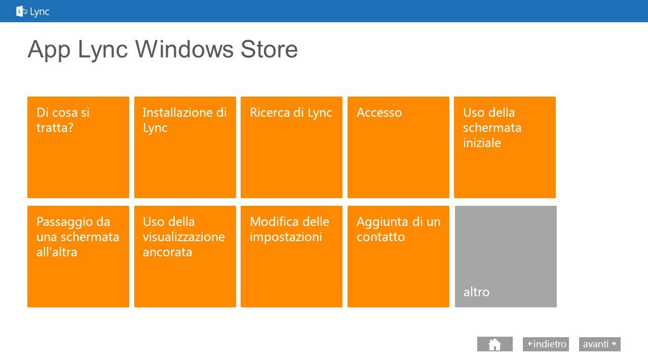 next avantiindietro App Lync Windows Store Partecipazione a una riunione Lync Alcune funzionalità potrebbero non essere disponibili per il proprio account.
