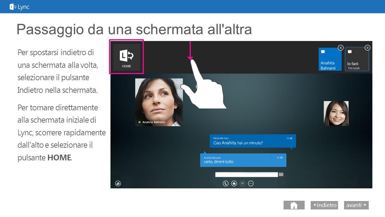 avantiindietro Uso della visualizzazione ancorata Voto Per tenere sotto controllo le riunioni e le conversazioni quando si usano app diverse da Lync, si può ancorare la finestra di Lync a un lato della schermata, lasciando il resto dello schermo a disposizione per le altre applicazioni in uso.