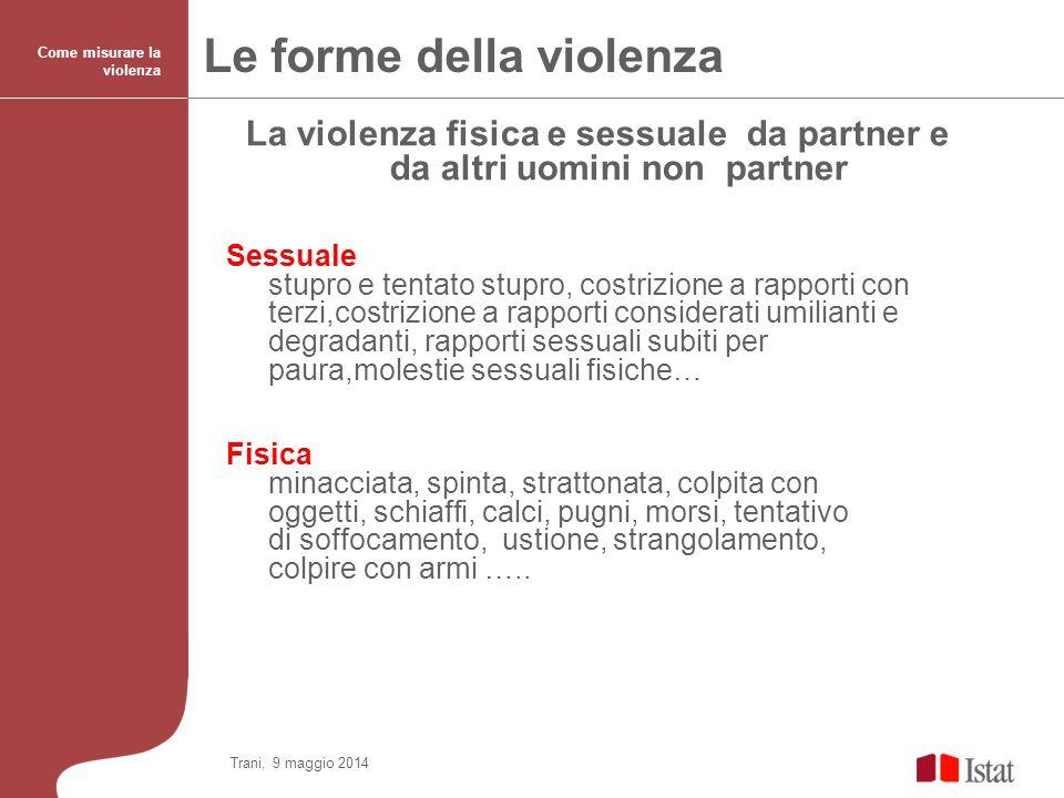 La violenza fisica e sessuale da partner e da altri uomini non partner Sessuale stupro e tentato stupro, costrizione a rapporti con terzi,costrizione