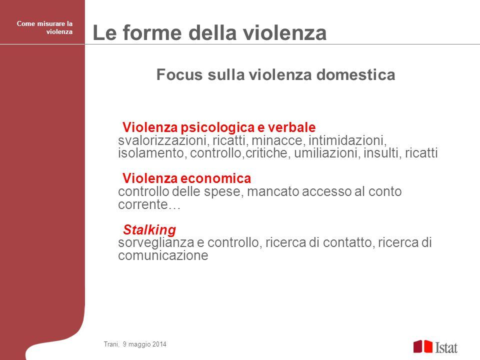Focus sulla violenza domestica Violenza psicologica e verbale svalorizzazioni, ricatti, minacce, intimidazioni, isolamento, controllo,critiche, umilia