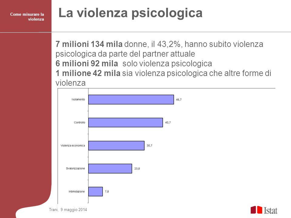 La violenza psicologica 7 milioni 134 mila donne, il 43,2%, hanno subito violenza psicologica da parte del partner attuale 6 milioni 92 mila solo viol