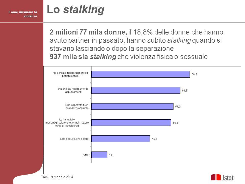 17 Lo stalking Come misurare la violenza 2 milioni 77 mila donne, il 18,8% delle donne che hanno avuto partner in passato, hanno subito stalking quand
