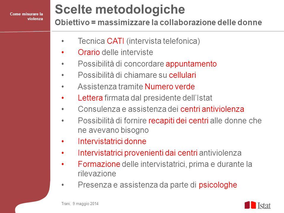 Scelte metodologiche Obiettivo = massimizzare la collaborazione delle donne Come misurare la violenza Tecnica CATI (intervista telefonica) Orario dell