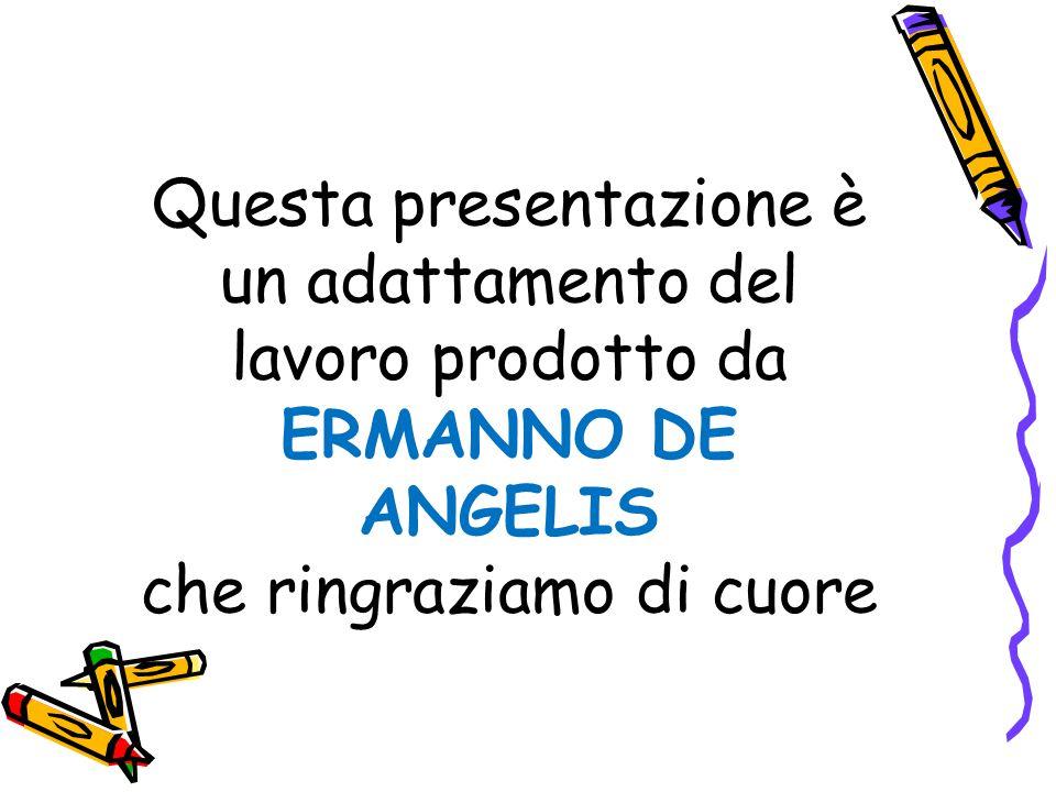 Questa presentazione è un adattamento del lavoro prodotto da ERMANNO DE ANGELIS che ringraziamo di cuore
